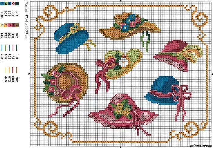 Шляпка с цветами вышивка крестом 39