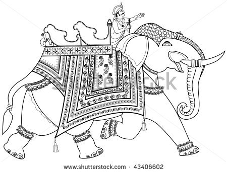 Indian Elephant Line Drawing -of-a-decorated-indian-