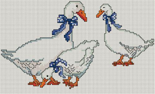 Вышивка крестом с гусями