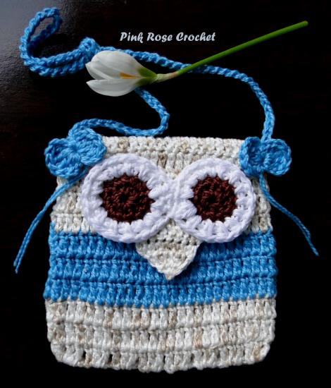 Bolsinha Azul Croche Coruja Crochet Owl Purse (470x550, 403Kb)