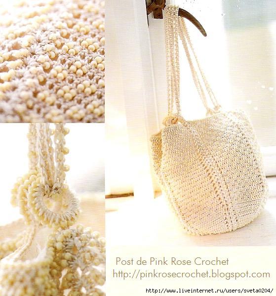 Bolsa de Croche - Beaded Shoulder Bag - Pink Rose Crochet (559x599, 170Kb)