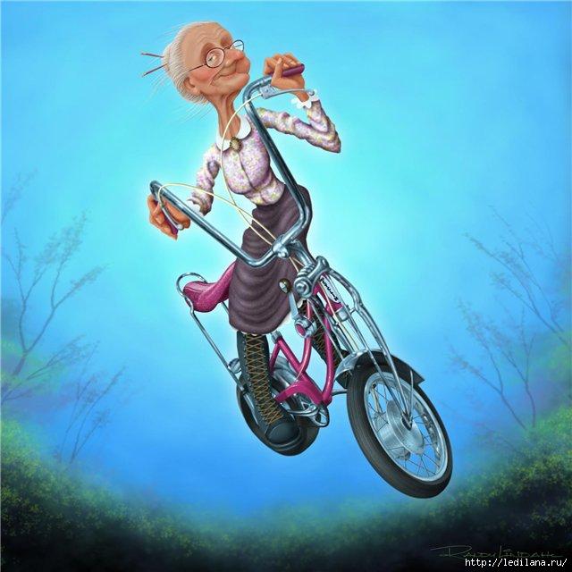 велосипед и бабуся (640x640, 157Kb)