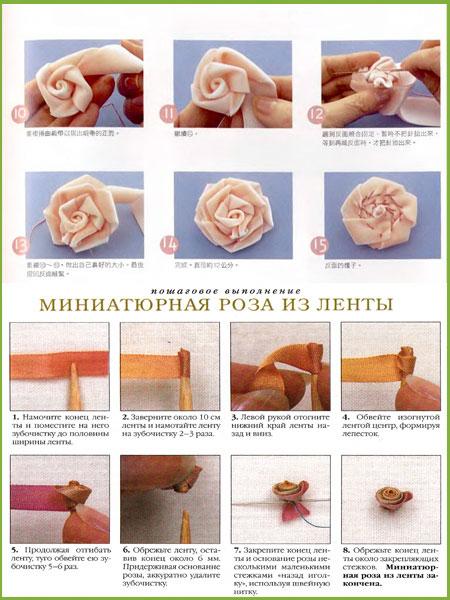 Как сделать розу из атласной ленты.