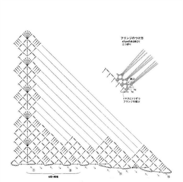 Филейное вязание косынки крючком 41