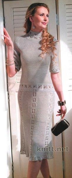 вязаное крючком платье схема
