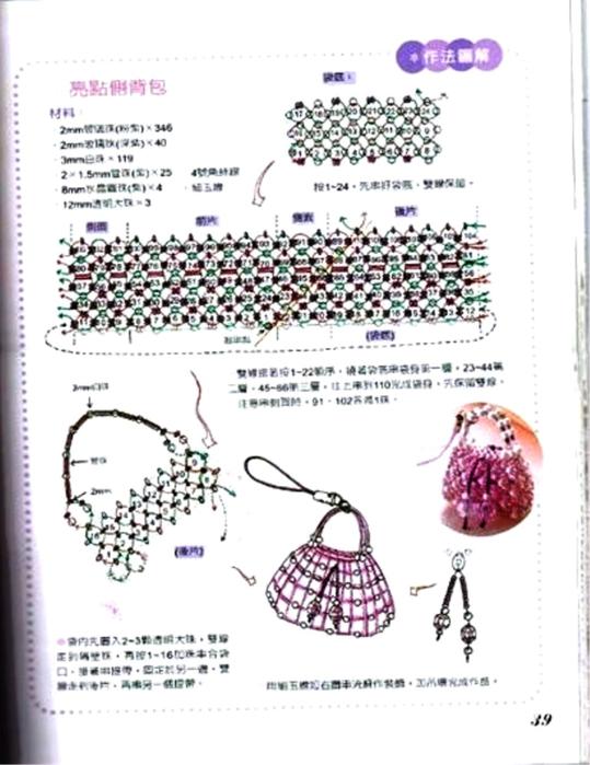 Миниатюрные сумочки подвески и брелоки из бисера Схемы.  Прочитать целикомВ.