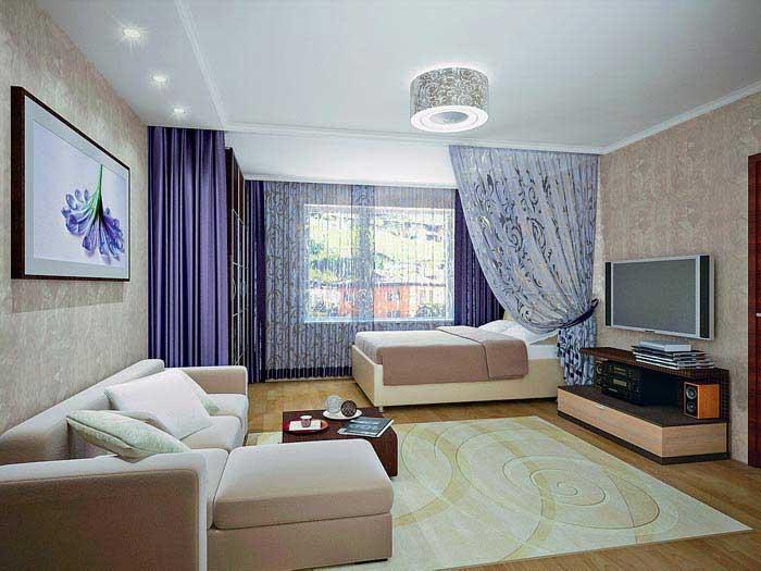 Дизайн спальни с залом в одной комнате фото