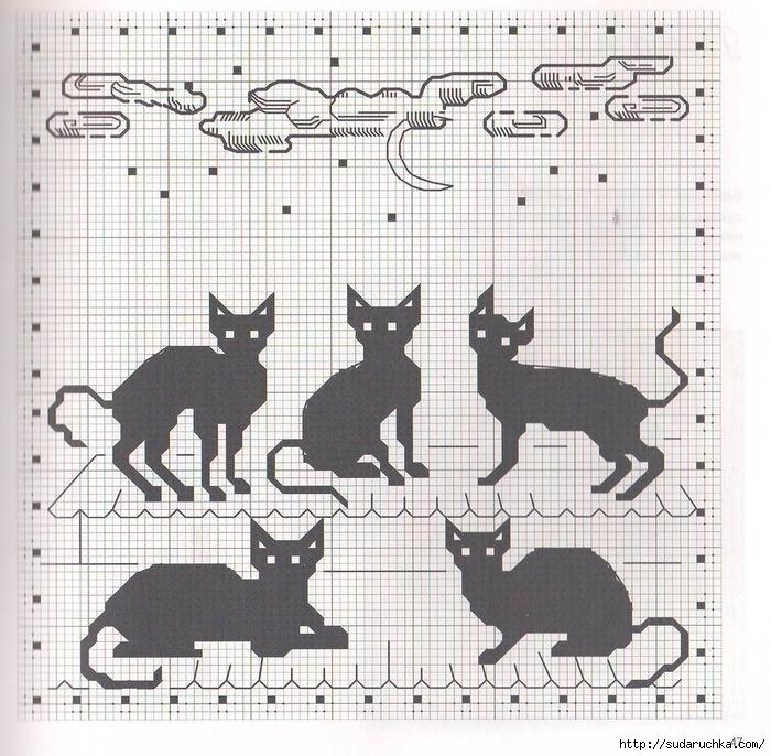 """Схема вышивки  """"Чёрные кошки """": схема."""