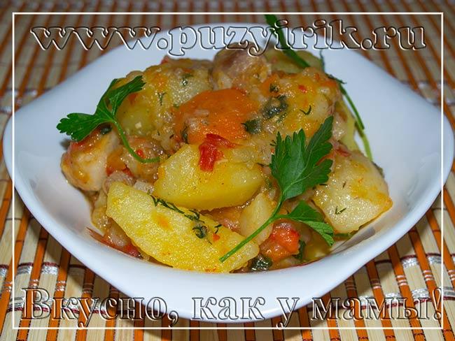 Как сделать тушеную картошку с мясом в мультиварке