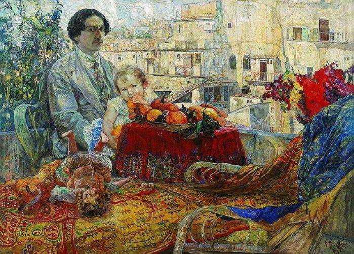 Isaak BRODSKY Self-portrait with Daughter 1911 (700x501, 117Kb)