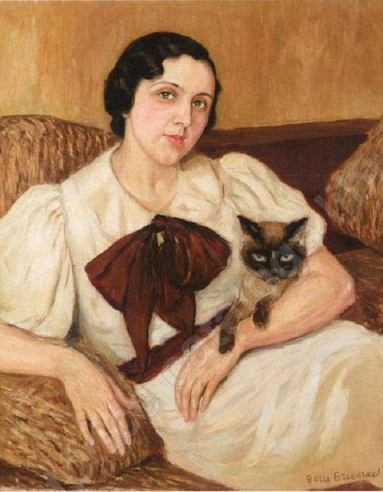Борис Григорьев - Женщина с котом (544x700, 49Kb)