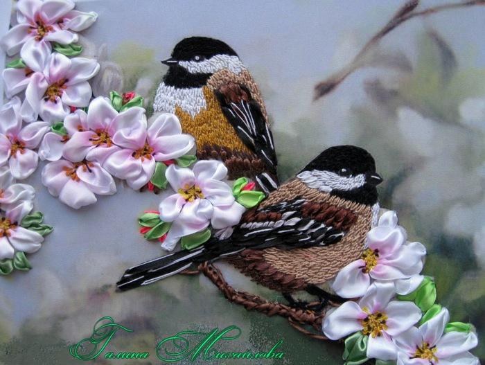 Вышивка лентами птицы мастер класс