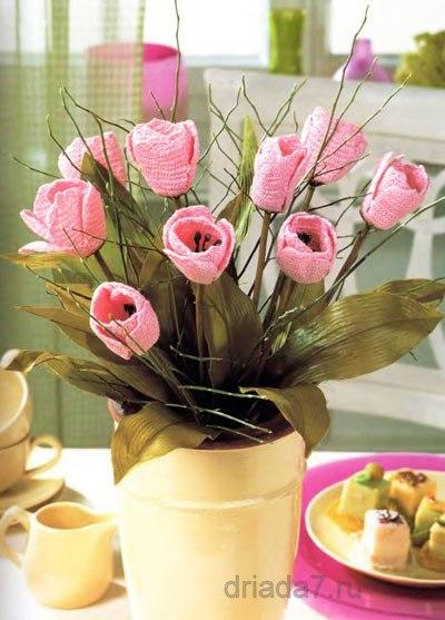 тюльпаны крючком схема - Самое