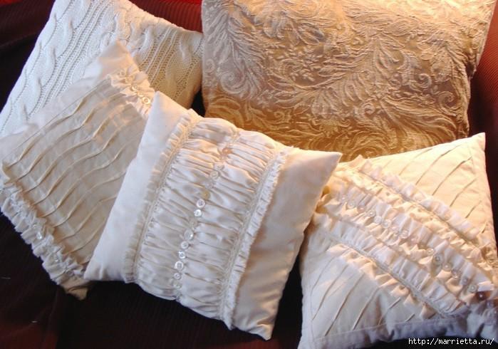 подушки из мешковины, бязи и цветов в стиле шебби шик (5) (700x490, 203Kb)
