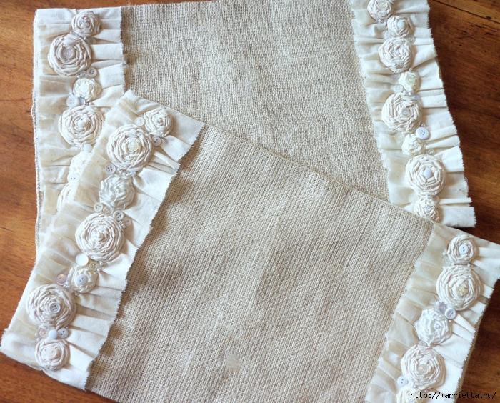 Как сделать цветы из мешковины 156