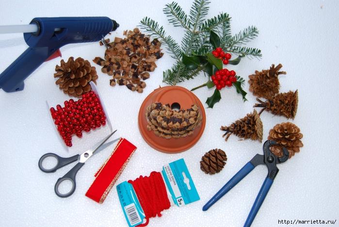рождественский колокол из цветочного горшка и сосновых шишек (1) (700x468, 287Kb)