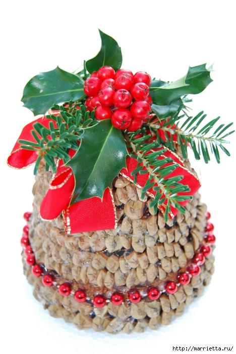 рождественский колокол из цветочного горшка и сосновых шишек (5) (468x700, 228Kb)