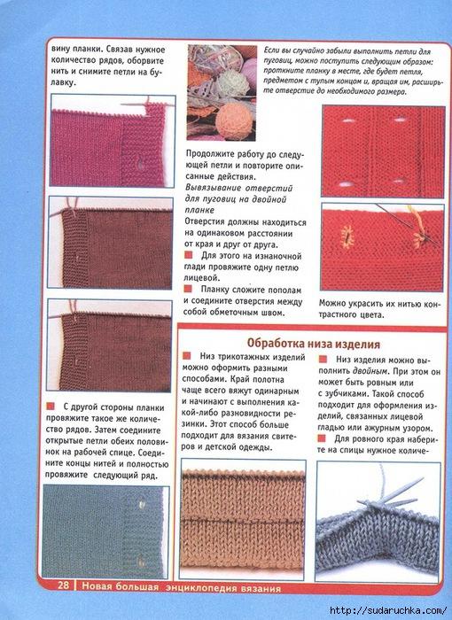 Вязание обработка вязаных изделий