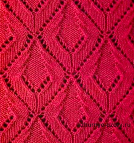 Яркие ажурные ромбы спицами- крупный ажурный узор, который можно применить для вязания женской одежды.