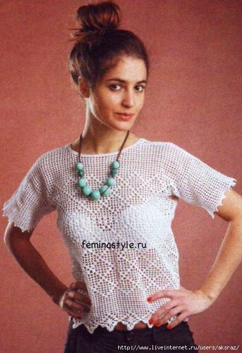 Блузки Из Белой Пряжи Вязание Спицами