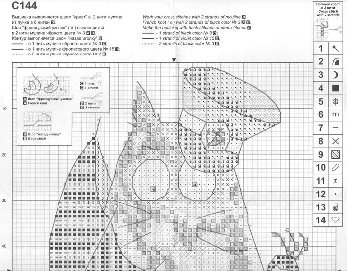 Кот с характером вышивка схема
