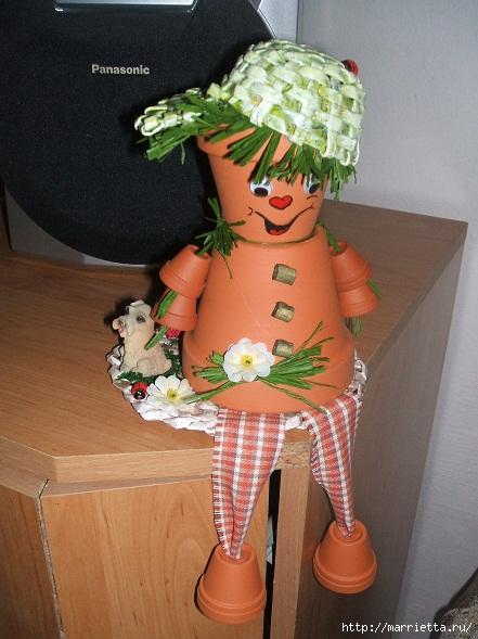 украшение для сада. куклы из цветочных горшков (22) (441x589, 174Kb)