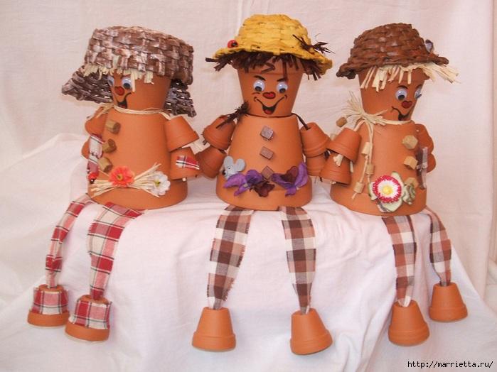 украшение для сада. куклы из цветочных горшков (23) (700x524, 199Kb)