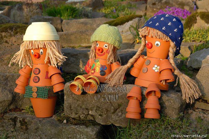 украшение для сада. куклы из цветочных горшков (37) (700x468, 237Kb)