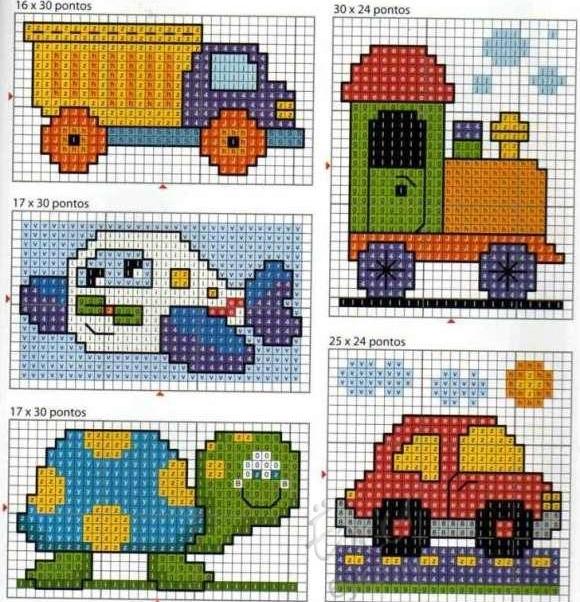 Машинки - маленькие цветные схемы для вышивки крестиком.