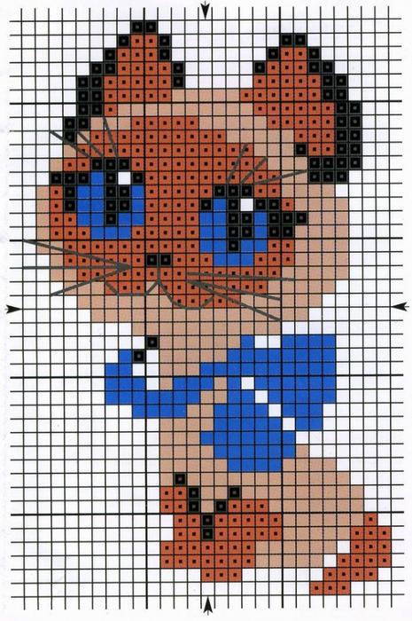 Котенок Гав.  Вышивка крестиком детской картинки.