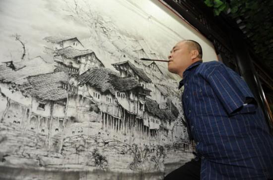 китайских художник-инвалид Хуан Гоффу (550x363, 59Kb)