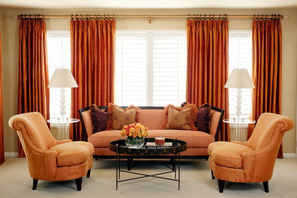 Orange curtains living room