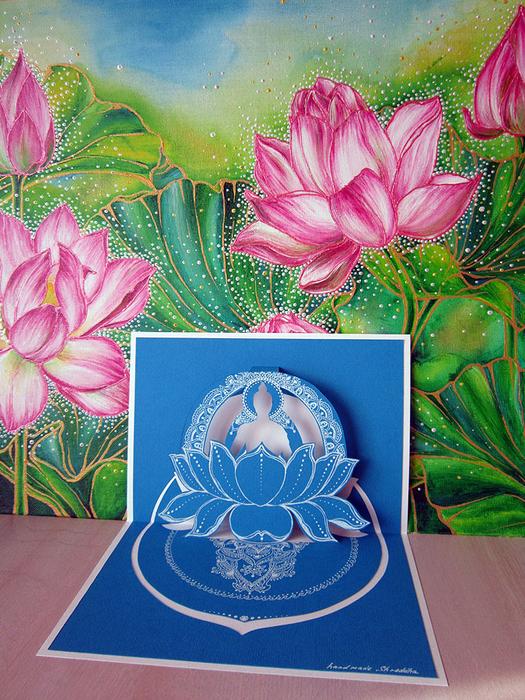 3D-открытка Будда в лотосе, автор Shraddha (1) (525x700, 605Kb)