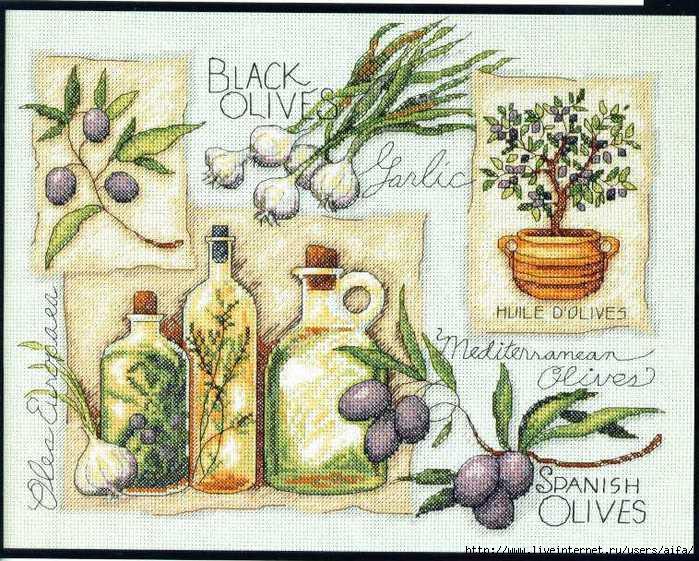Оливковый сэмплер Вышивка