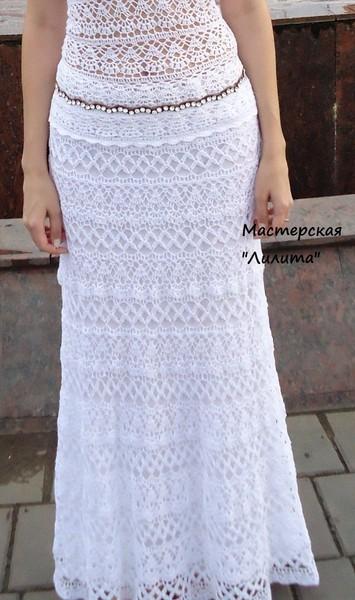 Макси юбка крючком схема