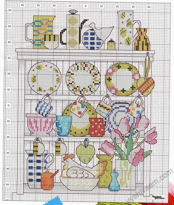 Схемы вышивки крестом на кухонную тематику