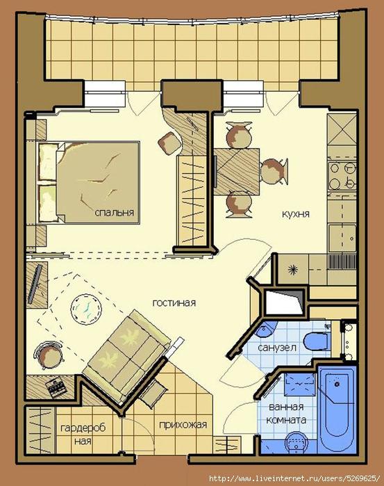 Дизайн однокомнатной квартиры однушка для троих  как