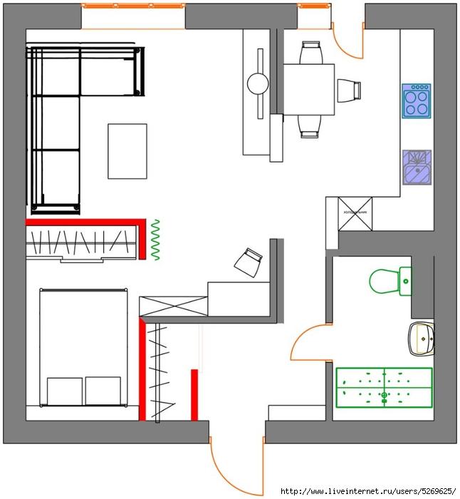 Дизайн проект квартиры однушки в двушку