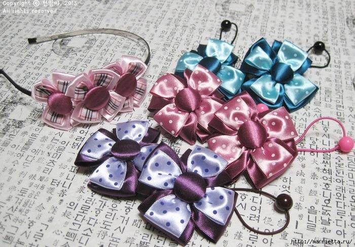 Цветы из атласных лент.  Отличное украшение для маленьких принцесс можно сделать своими руками из.
