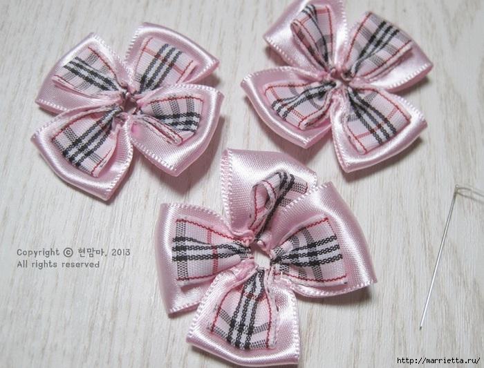 Аксессуары для девочек своими руками. Цветы из атласных лент (19) (700x533, 246Kb)