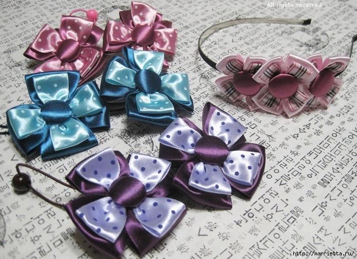 Аксессуары для девочек своими руками. Цветы из атласных лент (26) (700x509, 296Kb)