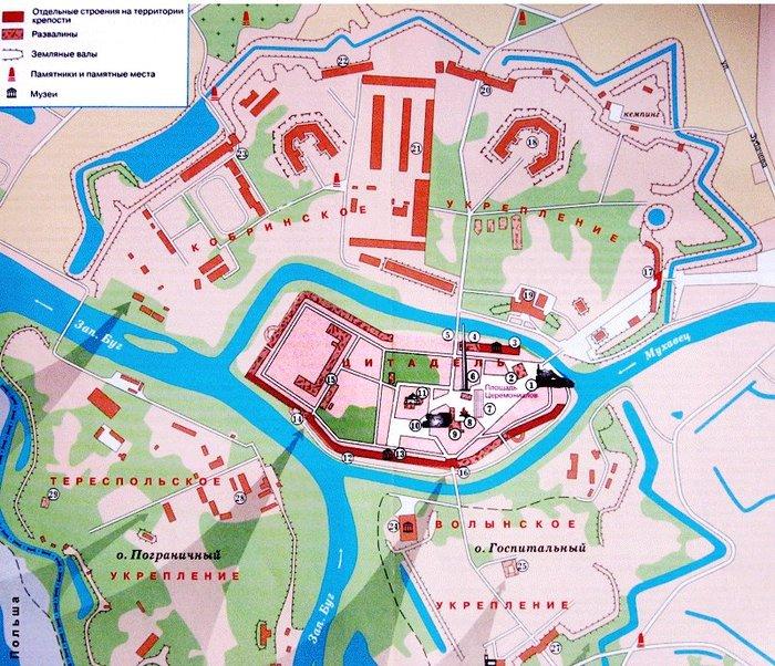 Карта-схема Брестской крепости Кликните на рисунок, чтобы открыть в новом окне.