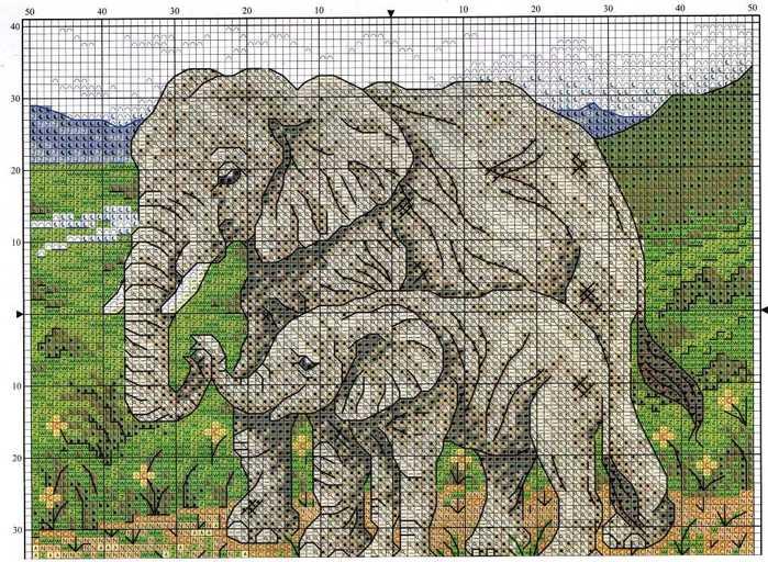 Слоны схема вышивки крестиком