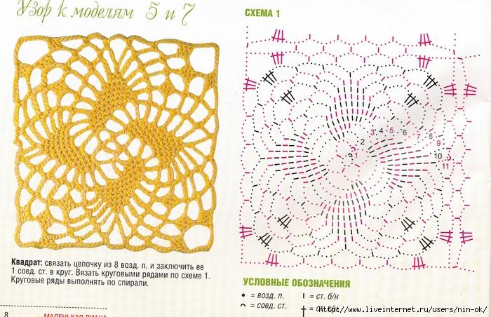 Квадратные мотивы вязанные крючком схемы
