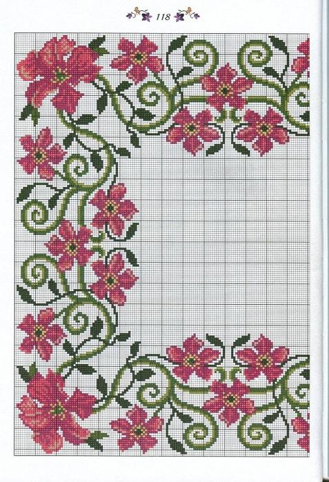 Вышивка для скатерти цветы 8