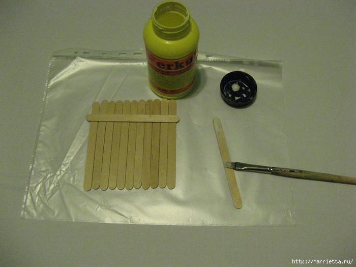 подставка под горячее из медицинских шпателей или палочек от мороженого.декупаж салфетками (3) (700x525, 159Kb)