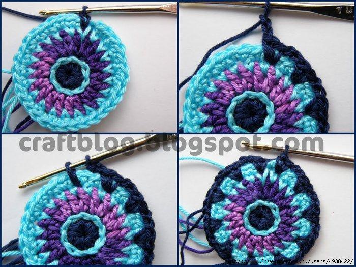 Вязание крючком по кругу разными цветами