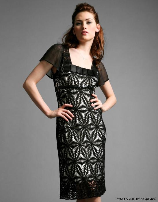 вязание платья крючком схема