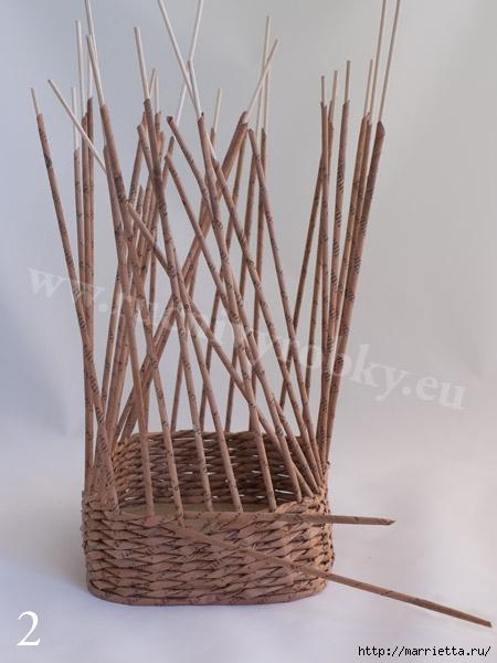 плетение из газет. пасхальная корзинка-заяц (5) (450x600, 133Kb)