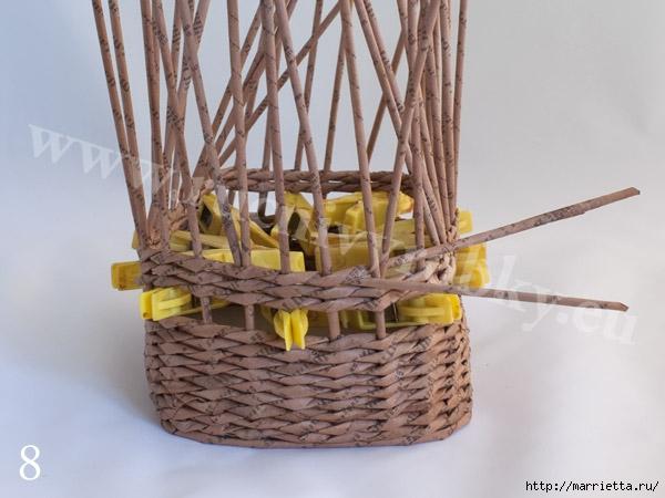 плетение из газет. пасхальная корзинка-заяц (11) (600x450, 143Kb)